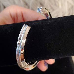 Stella Valle K Initial Cuff Bracelet Silver Color